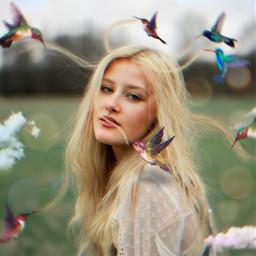 freetoedit woman hair humingbird clouds ftestickers drawtool magicbrush madewithpicsart picsarteffects