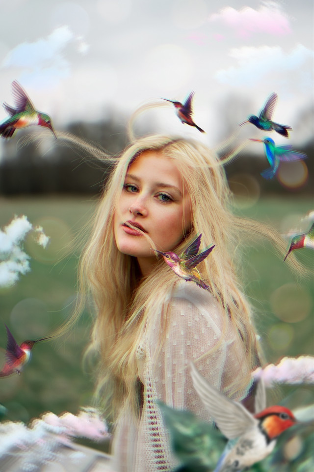 #freetoedit #woman #hair #humingbird #clouds #ftestickers #drawtool #magicbrush #madewithpicsart #picsarteffects