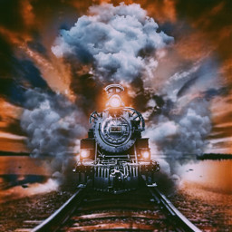 freetoedit train steam sunset surreal doubleexposure photomanipulation rail line lights myedit tkd