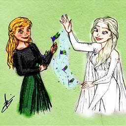 anna elsa frozen frozen2 background colour effects details dress magic icemagic snowflakes flags freetoedit