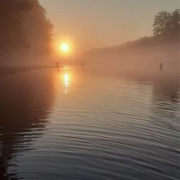 lake sunrise fog foggy water fishing men trees nature pcmybestphoto mybestphoto