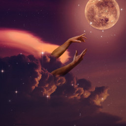 freetoedit sky heaven moon clouds hand hands glitter shine stars bright amazing madewithpicsart picsartpicks pickme papicks awesome colorful nightsky light fantasy fantastic thankyou 2k @pa