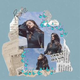 freetoedit selenagomez selenagomezedit blue blueaesthetic aesthetic newspaper butterfly sparkle summer rare