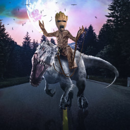 freetoedit iamgroot babygroot groot marvel fanart riding velociraptor moon road night alienized wallpaper uhd editedwithpicsart