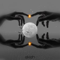 freetoedit blackandwhite editedbyme imagination photomanipulation art fantasyart surrealism hands lightning hopeless moonlight picsarttools