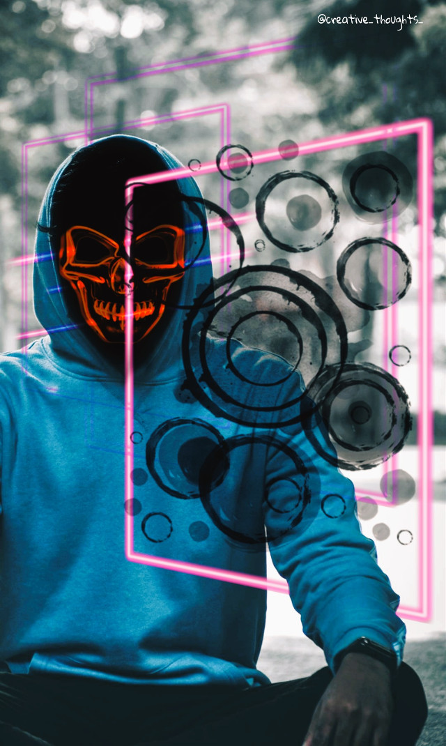 #freetoedit #skull #hoodie #boy #neon #square #creative_thoughts