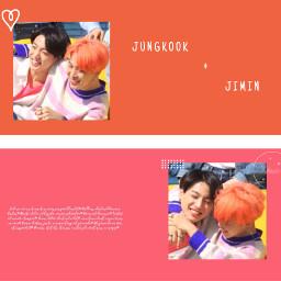 jimin jungkook jikook kookmin minie mimi koo kook bts bangtan music kpop edit kpopedit orange pink jeonjungkook parkjimin jungkookbts jiminbts lovely freetoedit