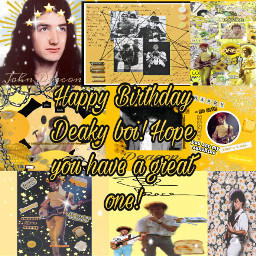 happybirthday birthday johndeacon johnricharddeacon cheeseontoast queenband queen yellow yellowasthetic queenie rocknroll classicrock discodeaky freetoedit
