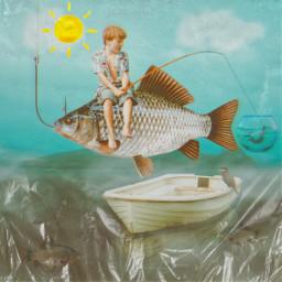 freetoedit unsplash fish fishing littleboy imagination boat daydream rippleeffect summer sunnyday surreal strange odd fishbowl