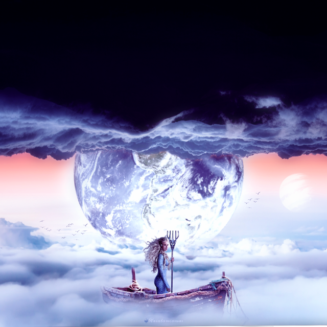 She has been traveling through the land of dreams to find one, which will fulfill her destiny.   All sources are not showing here🤷♀️ go on my Instagram post to see the sources 🤠  #freetoedit #unsplash #dreamy #place #clouds #planets #boat #girl #aquagirl #myedit #quickone #happyday #havefun #with @pa #Rainbowcanvas