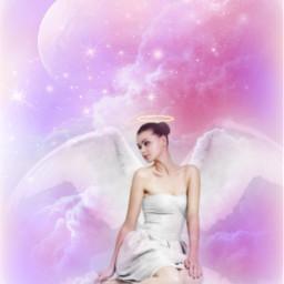 freetoedit fantasyart makebelieve alternateuniverse myimagination woman angel sky clouds moonlight starlights dreamy surreal surrealistic stickerart lensflare vignetteeffect myedit madewithpicsart