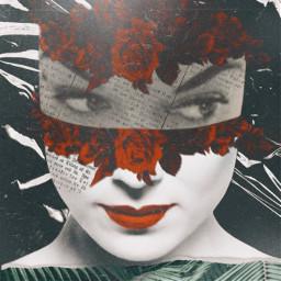 freetoedit collage flowerhead retro strange splashofcolor blackandwhite woman artisticportrait rippleeffect redlips vintage