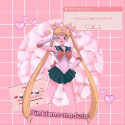 sailormoon pink sailormoonaesthetic sailormoonedit hearts pinkhearts pinkheart heart pinkedit edit freetoedit