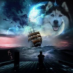 freetoedit art artdigital mar barco wolf lobo dragon planet @chuliluna19