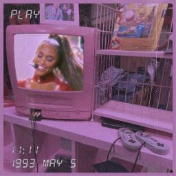 old tv vintage 90s 00s pink pinkaesthetic aesthetic art girl arianagrande arianators ari vintageeffect polaroid interesting replay remixme recent artistic freetoedit