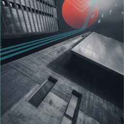 freetoedit geometric urban street buildings city perspective abstract moon night edited myedit madewithpicsart