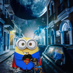 minion superman universal dc fanart dog superminion superdog supermoon night street alienized wallpaper uhd drawnwithpicsart editedwithpicsart freetoedit