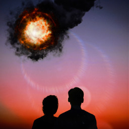 sky explosion sunset star fallingstar ircsidebyside sidebyside freetoedit