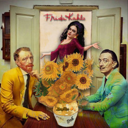 frida's viviendo_la_vida loca fridakahlo vincentvangogh salvadordali artists conundrum freetoedit frida