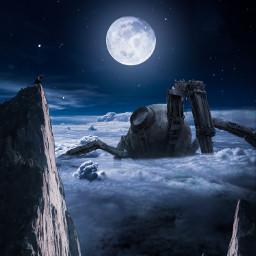 freetoedit robot clouds moon night sky stars rock girl fantasy