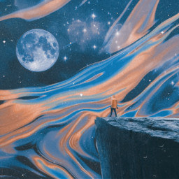 freetoedit fantasy vinyl blue orange moon moutain kid quirky poetry poem be_creative