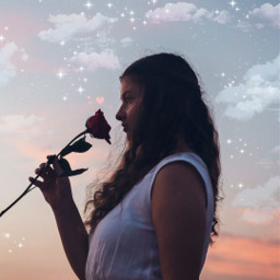 freetoedit roses stars clouds girl