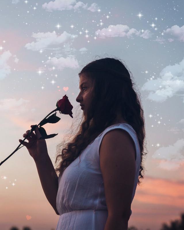 красние рози #freetoedit #roses #stars #clouds #girl