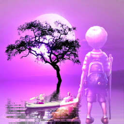 boy men boat tree pink color adventure landscape lake landscapebackground fantasyart myfantasy dreamy myedit editwithpicsart heypicsart freetoedit