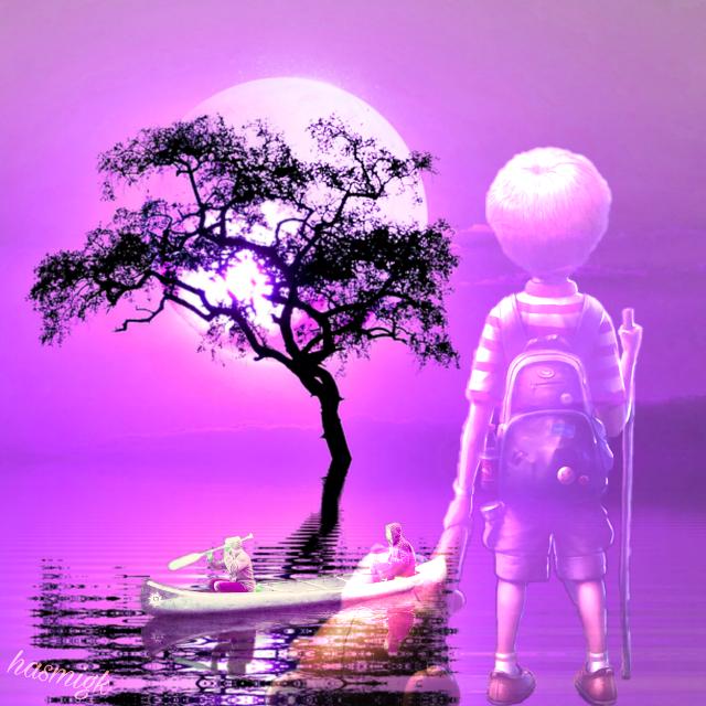 Every adventure begins with a dream #boy#men #boat #tree #pink #color #adventure  #landscape #lake #landscapebackground #fantasyart #myfantasy #dreamy #myedit #editwithpicsart #heypicsart #freetoedit