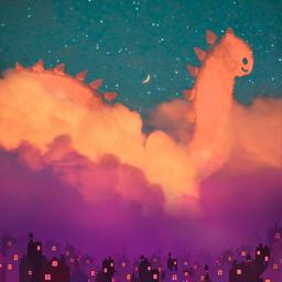 myphoto myedit madewithpicsart dinosaur cloudshapes creativity mydrawing sunset picsartstickers magic starrysky