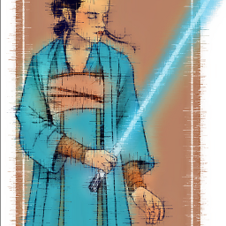 freetoedit madewithpicsart rey starwars daisyridley jedi lightsaber reylo girl strong cute robe theforce lightside darkside theforceawakens thelastjedi theriseofskywalker sword colourful blue dress