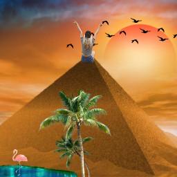 beautiful birds sunset art picsart pyramid interesting hotoutside desertsafari freetoedit