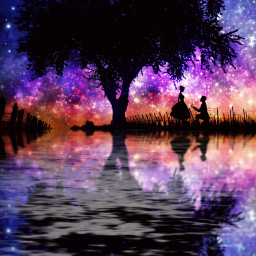 freetoedit couple proposal marryme fantasy night sky stars magic perfect loveit tree scenery nature mood feelings reflection water love colors follow rcwatermirror watermirror