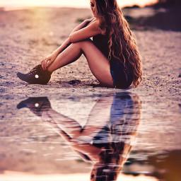 water reflection waterreflection ripple curlyhair wavyhair sunset goldenhour sitting womansitting rcwatermirror watermirror