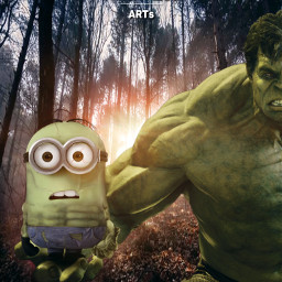 mastershoutout hulk minion hulkion marvel universal fanart heroes superheroes forest backlight nature alienized wallpaper uhd redrawn editedwithpicsart freetoedit