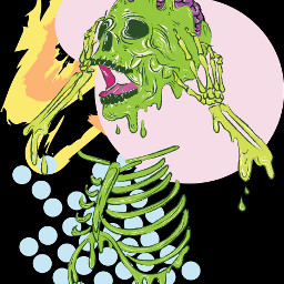 abobe adobeillustrator adobephotoshop drawing art graphic design digitaldrawing digitalart wacom skeleton skull lime green artistic graphicdesign popart dots illustration illustrator freetoedit