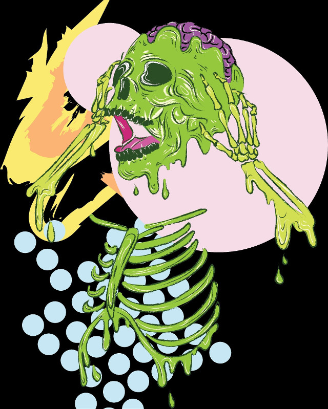 This weeks Tableau: Overwhelmed Lime Skeleton💀☠ He's up on Redbubble as a print too ! #abobe #adobeillustrator #adobephotoshop #drawing #art #graphic #design #digitaldrawing #digitalart #wacom #skeleton #skull #lime #green #artistic #graphicdesign #popart #dots #illustration #illustrator    #freetoedit