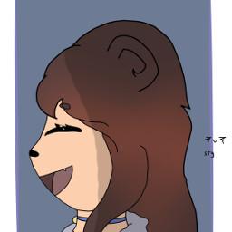 edit art anime side sideprofile sideprofilegirl bear cute