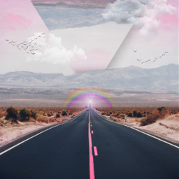 freetoedit road pink croptool surreal surreallandscape clouds rainbow colorful dodgereffect inspiration stayinspired madewithpicsart