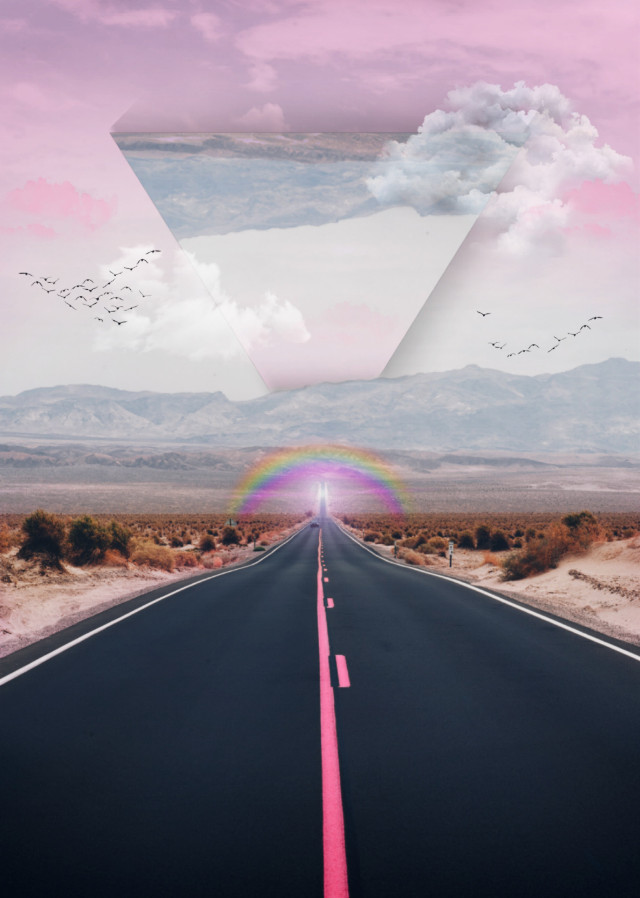 🤗 Hey! Your life is like a very long road: you don't have to travel through it without taking a break. 🌃 Sometimes you just need to slow down. 🍃💕 #freetoedit #road #pink #croptool #surreal #surreallandscape #clouds #rainbow #colorful #dodgereffect #inspiration #stayinspired #madewithpicsart