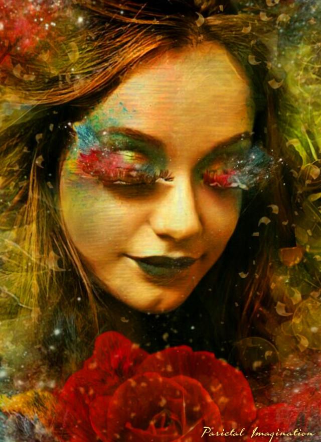 """Magic in Bloom"" Edit by: Parietal Imagination Art @pa #basket #hay #colorful #lashes #lips #hue #hair #vines #rose #glitter #neon #magicfx #effects  #picsart #madewithpicsart #nymph #fairy #freetoedit  #masterstoryteller #parietalimagination"
