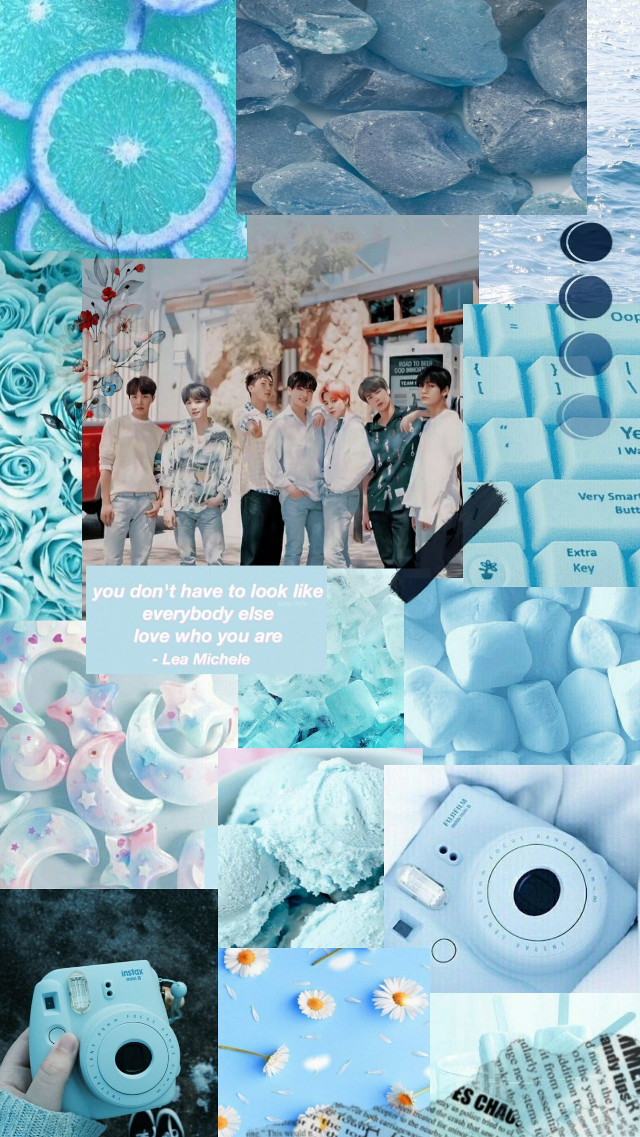 BTS blue collage aesthethic💙 by: D.A.☆ #bts #btsblueaesthetics #blueaesthetic #bluesky #blue #btsaestheticedits
