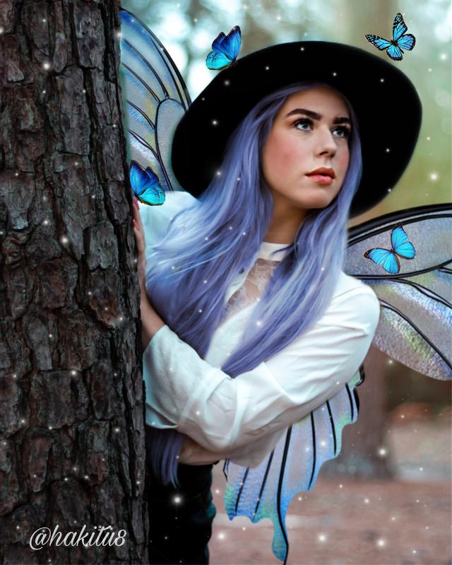 @hakitu8 #edit #edição #luz #cor #color #blue #butterfly #girl #remix #picsart #cores #photo #remixit