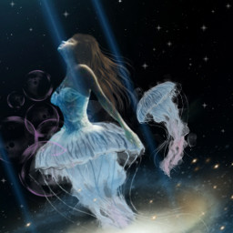 freetoedit woman jellyfish sky stars light surreal fantasyart myedit editwithpicsart picsart
