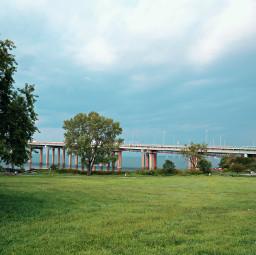 freetoedit bridge cloudy grass park trees bytheocean coastline