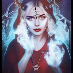 freetoedit remixit plzfollow chillingadventuresofsabrina sabrinatheteenagewitch witch hellfire satan hellishere spellman pentagram prettygirl badass