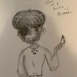 drawing oc knife murder art doodle chibi yeet meh