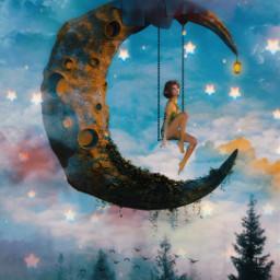 freetoedit moon manipulation sky forest