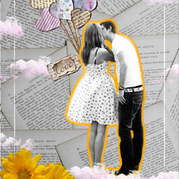 collage love newspaperbackground clouds lovers ballons flowers freetoedit