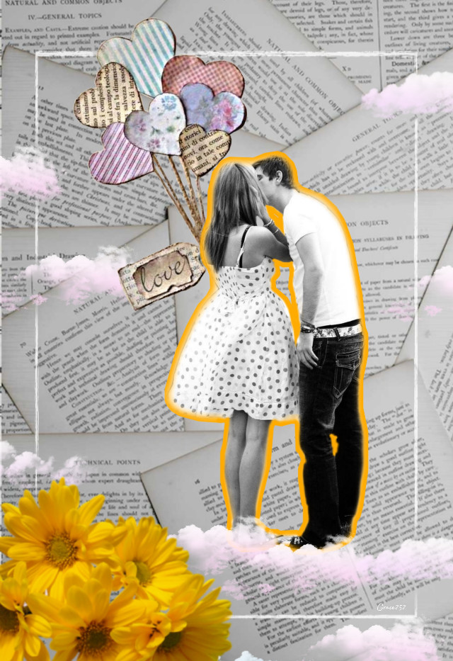 #collage #love #newspaperbackground #clouds #lovers #ballons #flowers